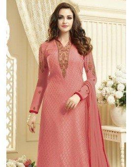 Salwar Kameez- Georgette Brasso Straight Embroidery - Pink -1221  (Un Stitched)