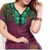 High Quality Alpine Cotton Floral Print Long Nighty - Violet Red
