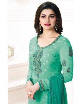 Salwar Kameez- Georgette Brasso Straight Embroidery - Medium Sea Green  (Un Stitched)