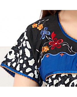 High quality Pure Cotton Floral Print Long Nighty - Black & Blue